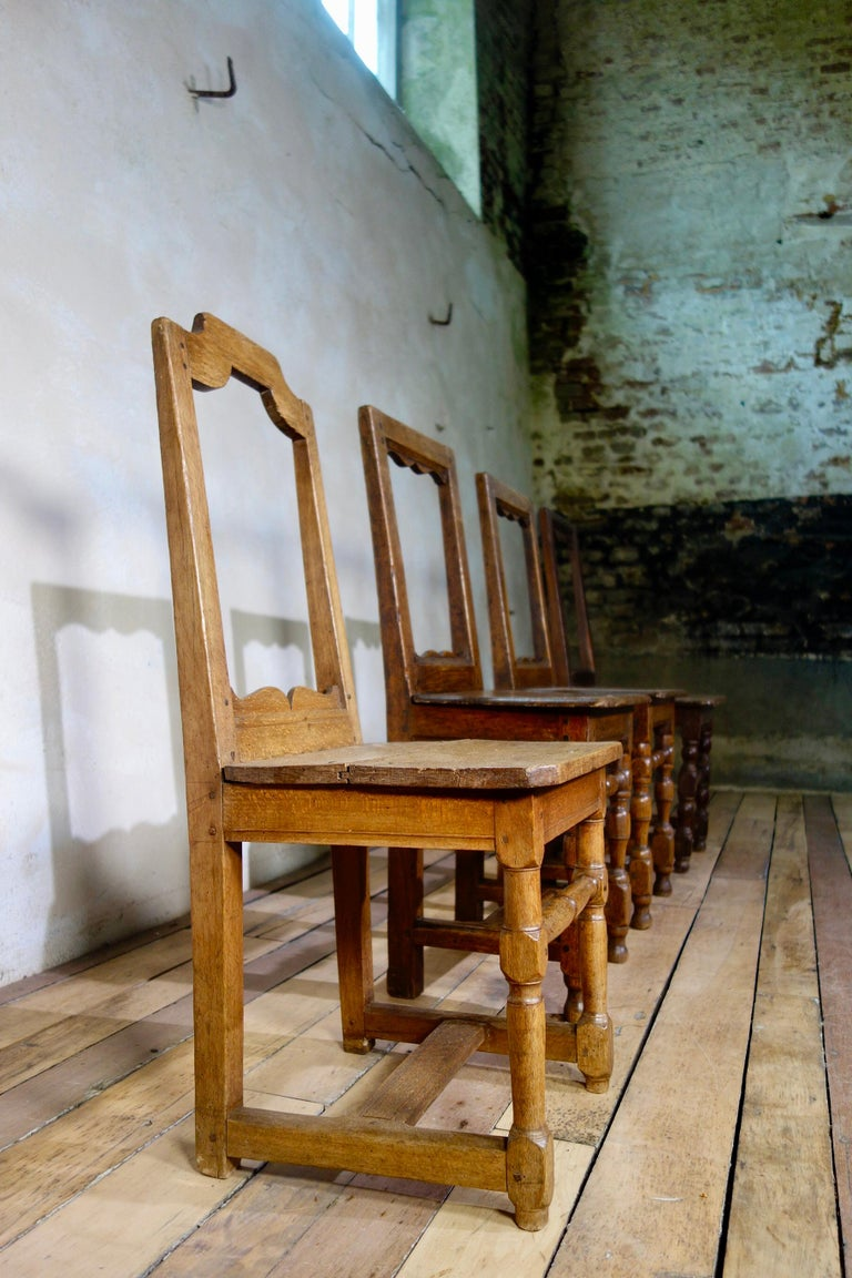 A Set Of Four Small French 18th Century Backstools, Lorraine Oak Side Chairs In Fair Condition For Sale In Basingstoke, Hampshire