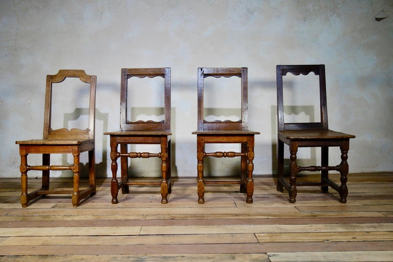 A Set Of Four Small French 18th Century Backstools, Lorraine Oak Side Chairs For Sale 3