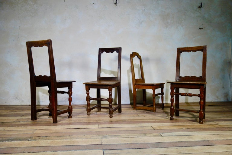 A Set Of Four Small French 18th Century Backstools, Lorraine Oak Side Chairs For Sale 5