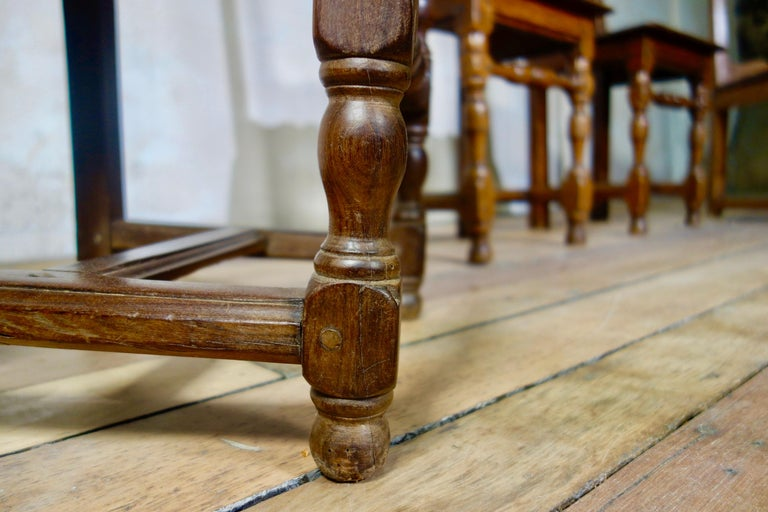 A Set Of Four Small French 18th Century Backstools, Lorraine Oak Side Chairs For Sale 6