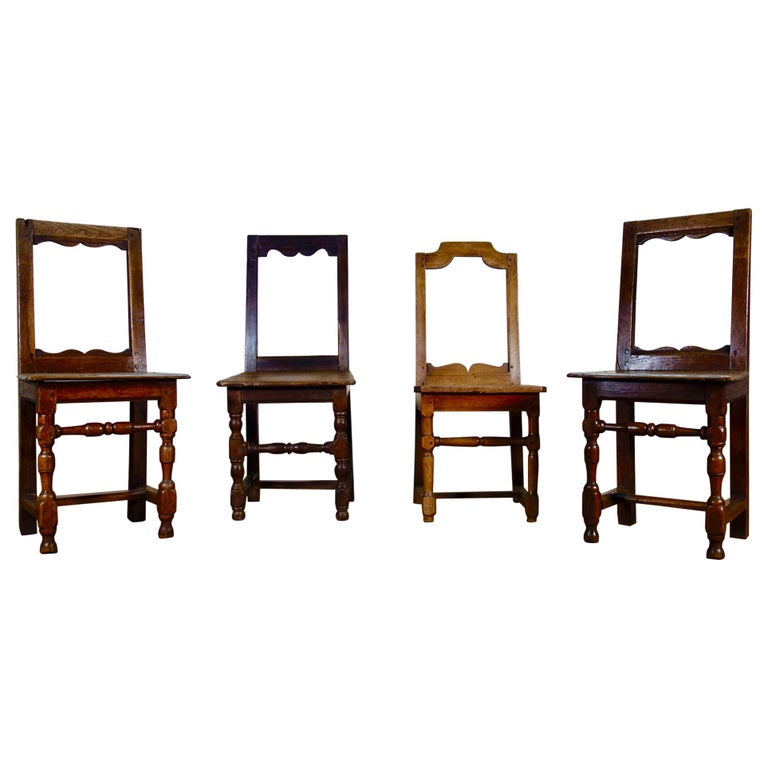 A Set Of Four Small French 18th Century Backstools, Lorraine Oak Side Chairs For Sale