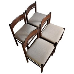 Four Solid Mid-Century Modern Wengé Dining Chairs
