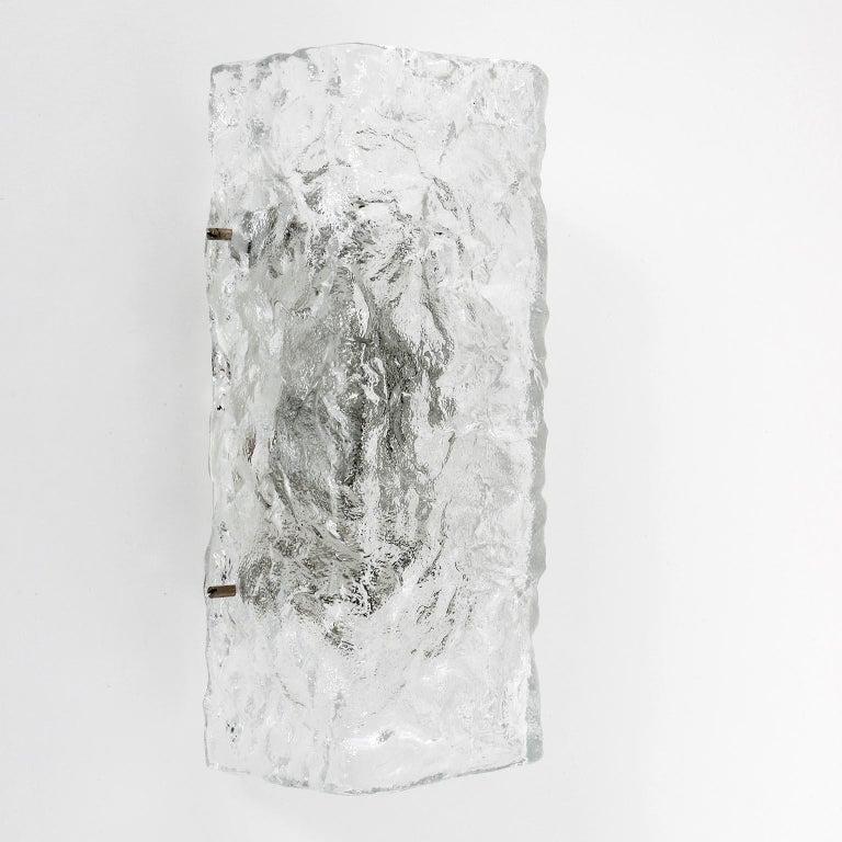 Mid-Century Modern Four Square Kalmar Textured Glass Sconces, 1970 For Sale