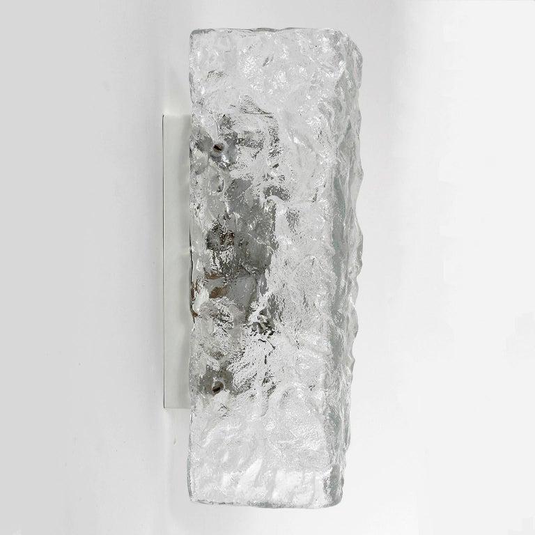 Austrian Four Square Kalmar Textured Glass Sconces, 1970 For Sale