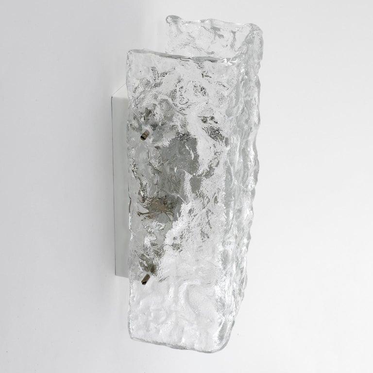 Enameled Four Square Kalmar Textured Glass Sconces, 1970 For Sale