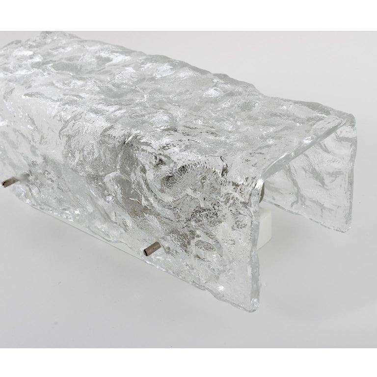 Metal Four Square Kalmar Textured Glass Sconces, 1970 For Sale