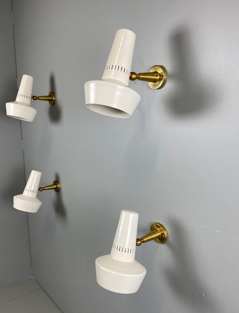 Four Stilnovo Brass Adjustable Wall Lamp, 1960s For Sale 1
