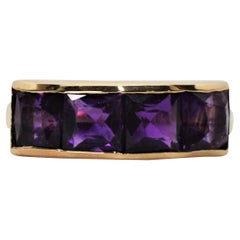 Four Stone Amethyst Yellow Gold Ring