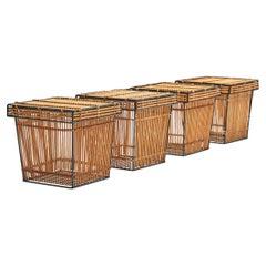 Four Storage Baskets by Dirk Van Sliedregt 'Attr.' for Rohé, Netherlands, 1960s