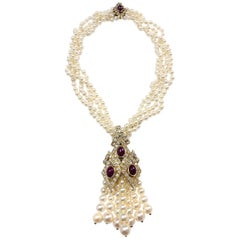 Four Strand Cultured Pearl, Gold, Cabochon Ruby and Diamond Fringe Necklace