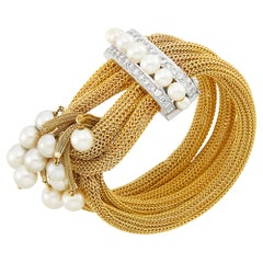 Four Strand Gold Mesh, White Gold, Cultured Pearl and Diamond Fringe Bracelet