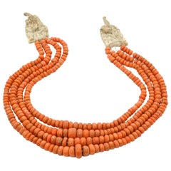 Vintage Multi-Strand Red Coral Beaded Necklace