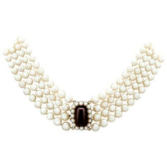 Four-Strand Pearl Choker with Garnet and Pearl, Yellow Gold Clasp