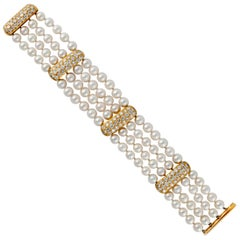 Four-Strand Pearl Diamond Bracelet