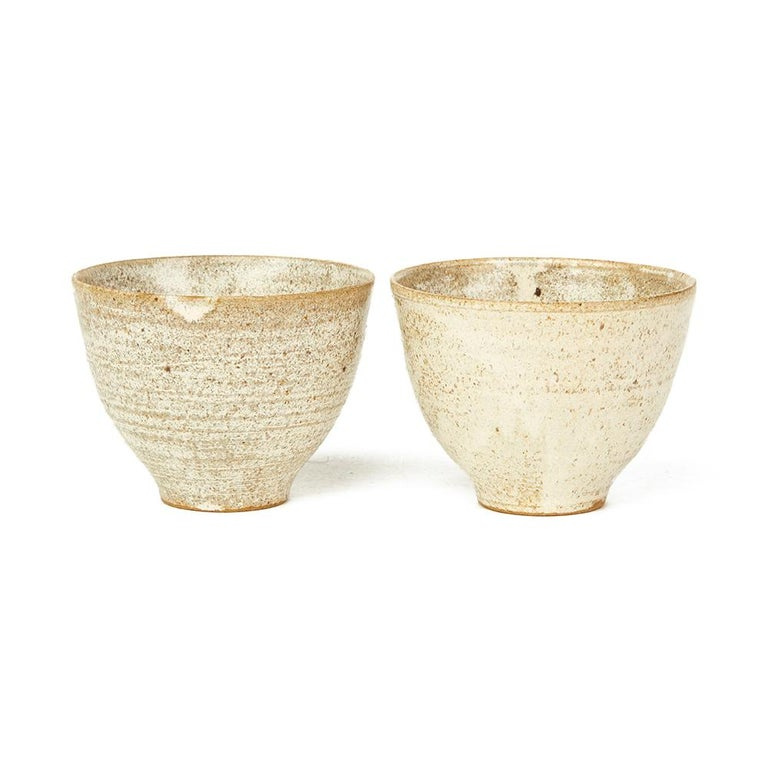 Unknown Four Studio Pottery Oatmeal Glazed Bowls, 20th Century For Sale