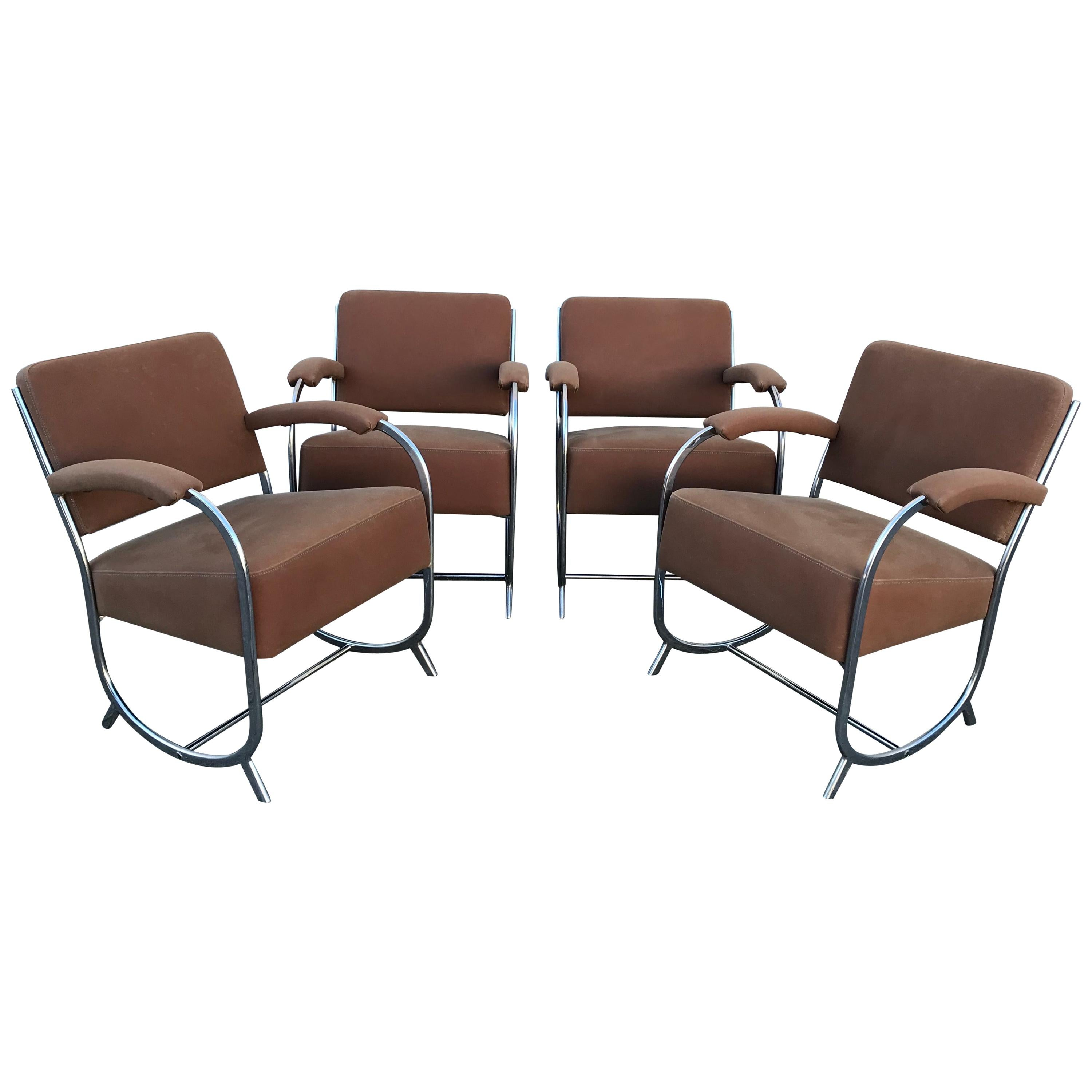 Four Theo A Kochs Streamline Modern Club Chairs in the Style of KEM Weber, 1930s