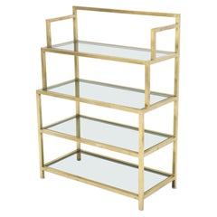 Four-Tier Brass Console Small Étagère with Smoked Glass Shelves