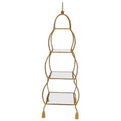 Four Tier Glass Shelves Twisted Metal Rope Square Étagère Shelf Display Unit