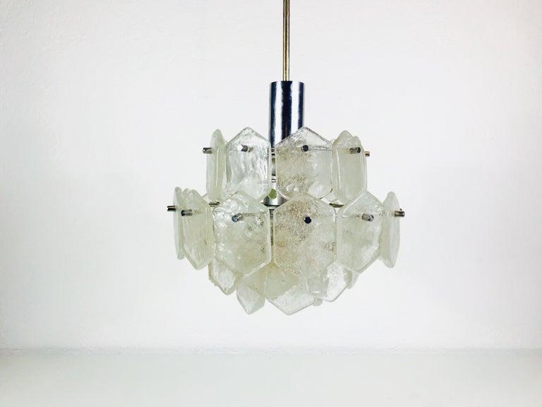Four-Tiered Kalmar Midcentury Ice Glass Chandelier, circa 1960s For Sale 3