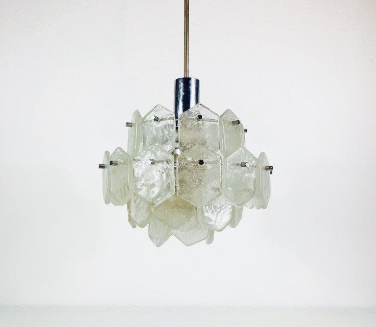 Mid-Century Modern Four-Tiered Kalmar Midcentury Ice Glass Chandelier, circa 1960s For Sale