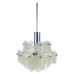 Four-Tiered Kalmar Midcentury Ice Glass Chandelier, circa 1960s
