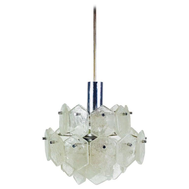 Four-Tiered Kalmar Midcentury Ice Glass Chandelier, circa 1960s For Sale