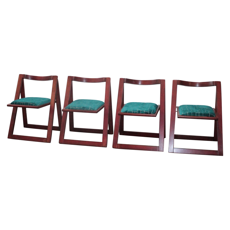 Four Trieste Folding Chairs Bazzani Design Aldo Jacober Pierangela D'aniello 60s