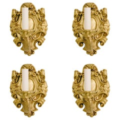 Four Turn of the Last Century French Louis XV Bronze Doré Sconces