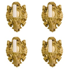 Four Turn of the Last Century French Louis XV Bronze Doré Sconces