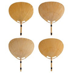 Four 'Uchiwa' Sconces Wall Lamps Lights, Ingo Maurer, Bamboo Paper, 1970s