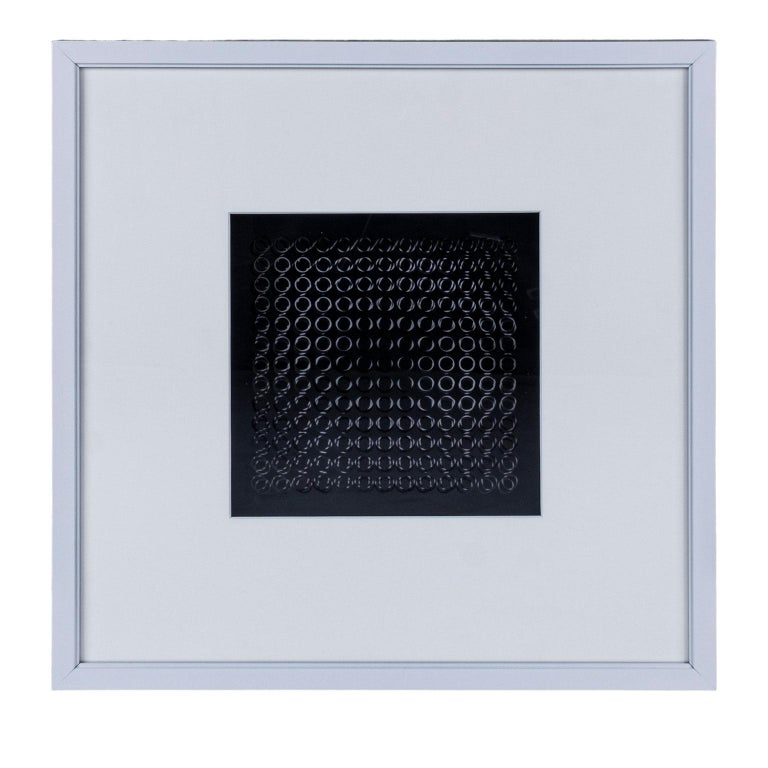 Four Vasarely prints, Oeuvres Profondes. Four different original midcentury op art prints by Victor Vasarely, from his 'Oeuvres Profondes' series. Editions Du Griffon Neuchâtel, 1973, unsigned as issued, silk screen on transparency over printed rag
