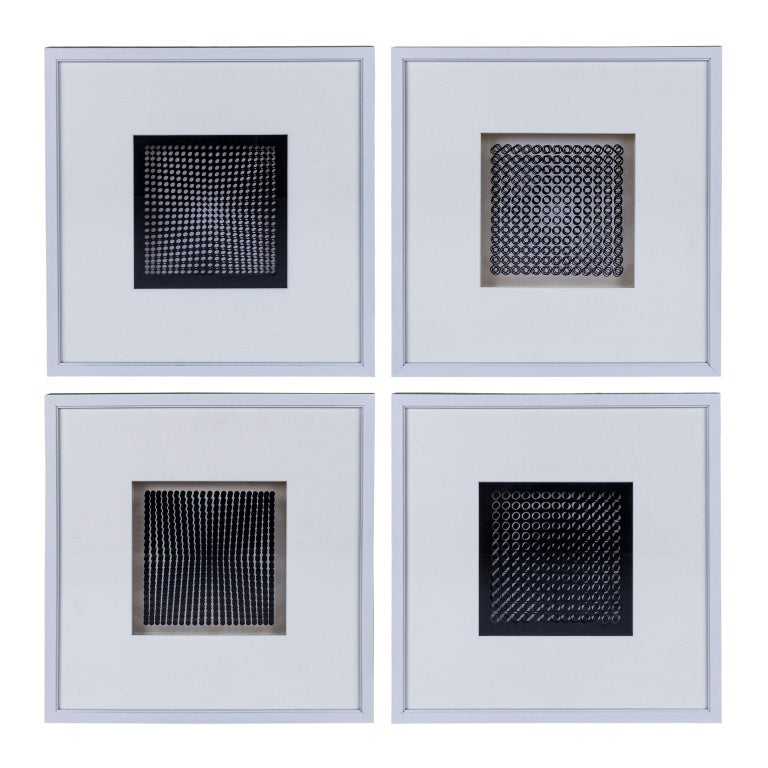 Four Vasarely Prints, Oeuvres Profondes In Good Condition For Sale In Houston, TX