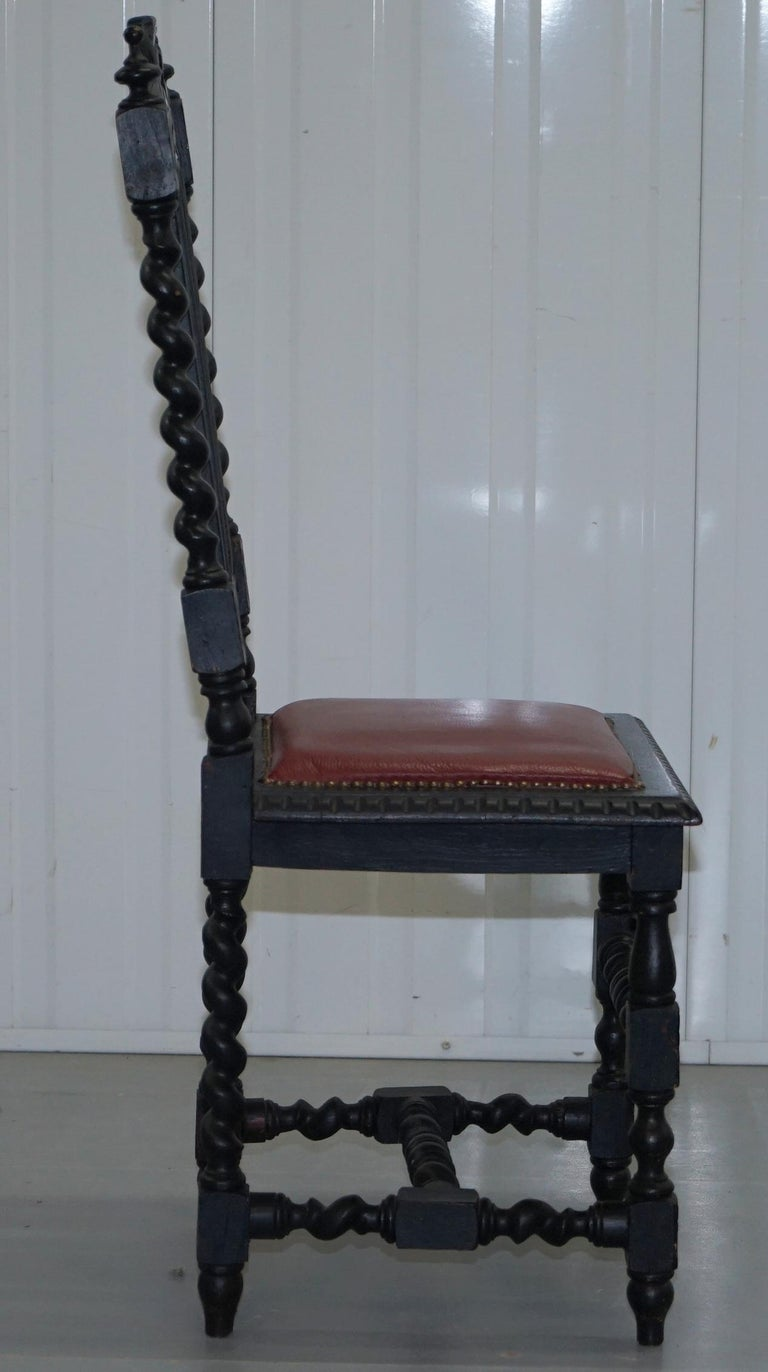 Four Victorian Carved Oak Dining Chairs Leather Upholstery