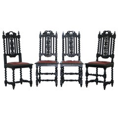 Four Victorian Carved Oak Dining Chairs Leather Upholstery Gothic Part Suite