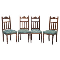 Four Victorian Libertys London Oak with Hera Upholstery Dining Chairs Carved