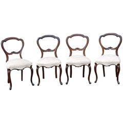 Four Victorian Rosewood Dining Chairs