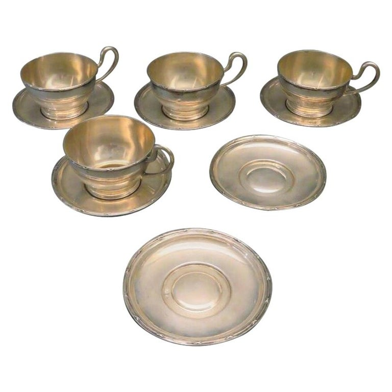 Four Viennese Tea Cups with Six Saucers, circa 1900, Sterling Silver For Sale