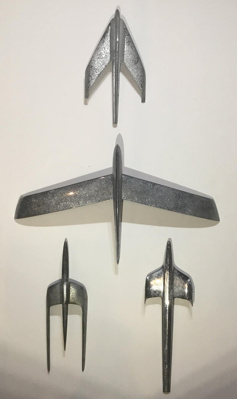 Four Vintage Airplane Wing Hood Car Ornaments Wall Hanging For Sale 11