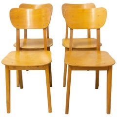Four Vintage Beech Dining Chairs, French, circa 1950