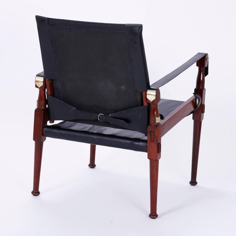 Four Vintage Campaign Safari Chairs In Excellent Condition For Sale In Palm Beach, FL