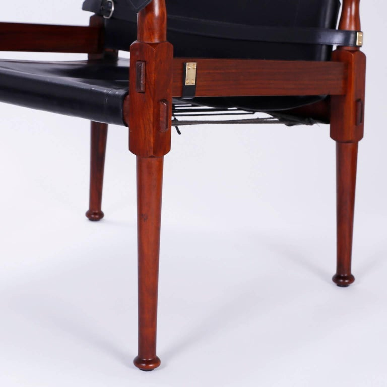 Leather Four Vintage Campaign Safari Chairs For Sale