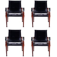 Four Vintage Campaign Safari Chairs