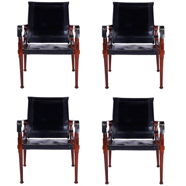 Four Vintage Campaign Safari Chairs For Sale