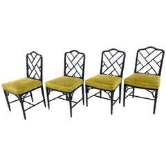 Four Vintage Carlisle Bamboo Style Chairs Hollywood Regency