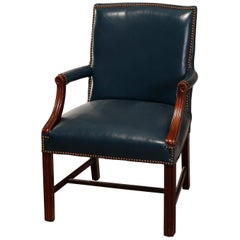 Four Vintage Chippendale Style Blue Leather Armchairs by Classic, 20th Century