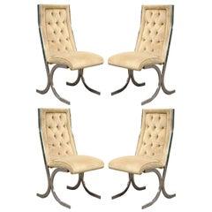 Four Vintage Chrome X-Form Tufted Dining Chairs Milo Baughman Era