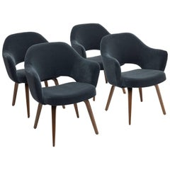 Four Vintage Eero Saarinen for Knoll Executive Armchairs with Wooden Legs