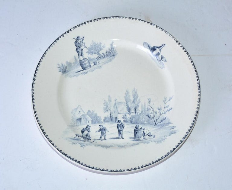 French Provincial Four Vintage French Dinner Plates by Teniers For Sale