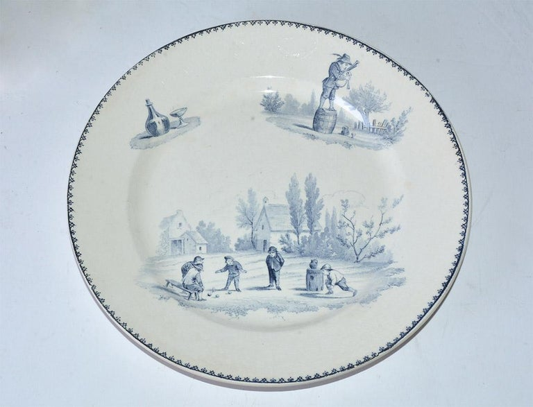 Four Vintage French Dinner Plates by Teniers In Good Condition For Sale In Great Barrington, MA