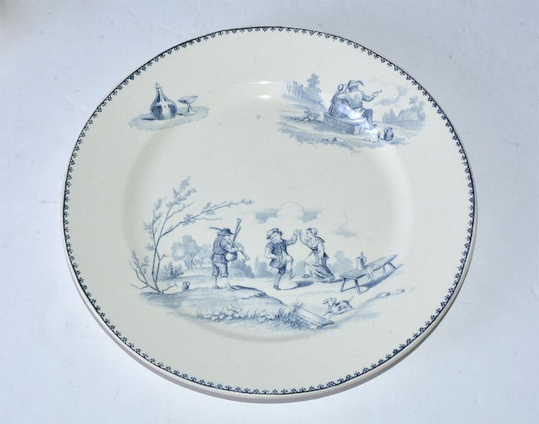 20th Century Four Vintage French Dinner Plates by Teniers For Sale